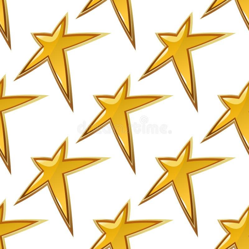 金黄星无缝的背景样式 向量例证