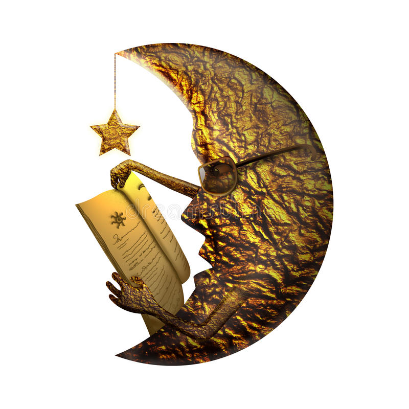 金黄月亮阅读书 免版税库存照片