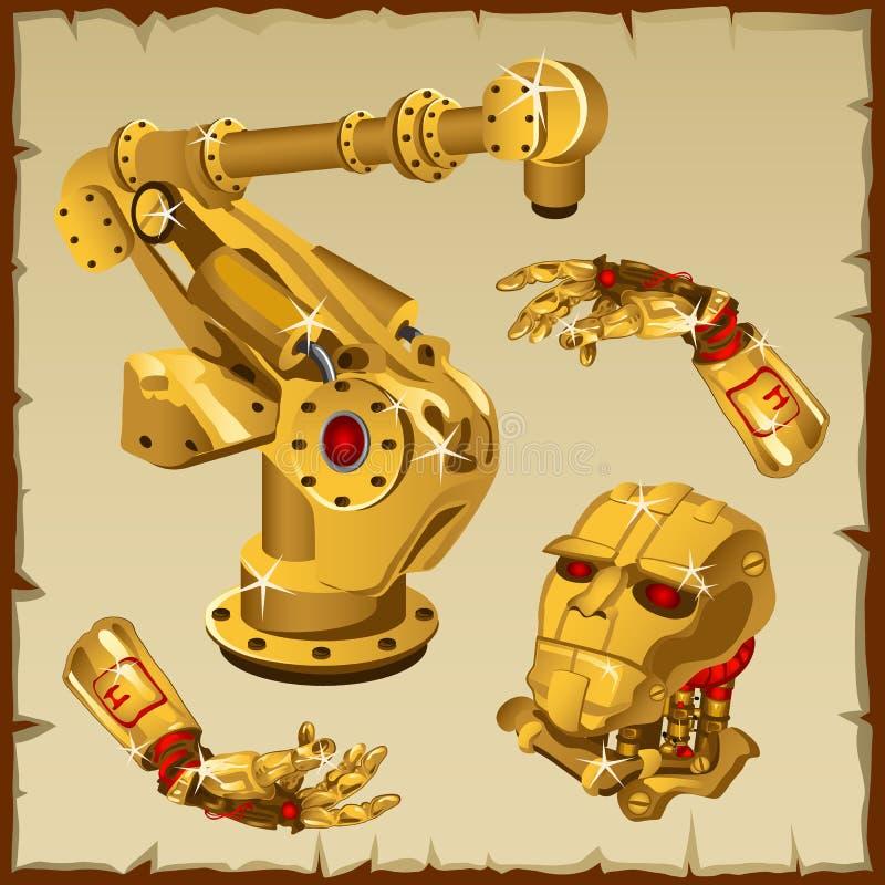 金黄机器人零件、胳膊,头和其他的套 向量例证