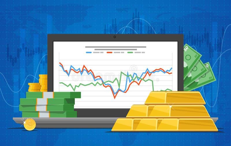 黄金价格在平的样式的传染媒介例证 在膝上型计算机屏幕上的储蓄图 向量例证
