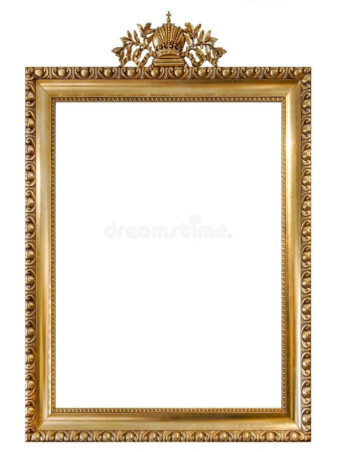 金黄画框隔绝了白色背景葡萄酒对象 库存照片