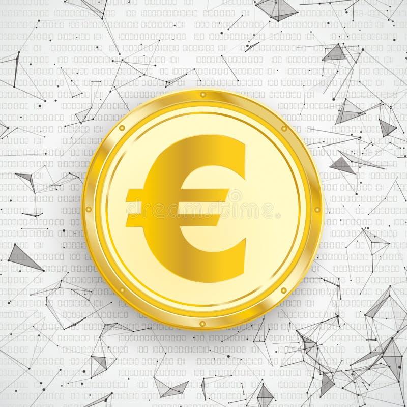 金黄欧洲硬币数字网被连接的小点 皇族释放例证