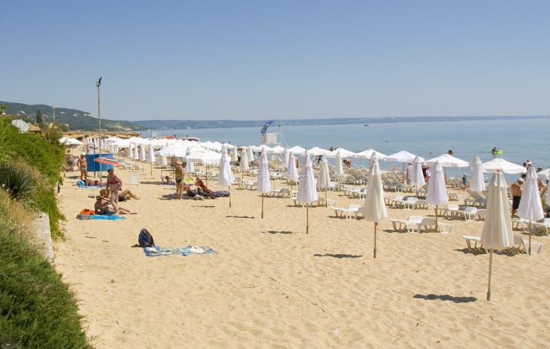金黄沙子海滩,保加利亚 图库摄影