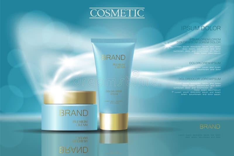 金黄浅兰的skincare奶油包裹化妆用品广告 现实3d例证促进海报 飞行的精美defocus 皇族释放例证