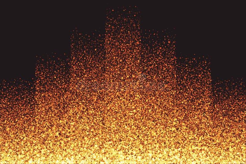 金黄淡光发光的圆的微粒传染媒介背景 皇族释放例证