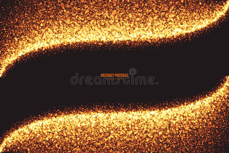 金黄淡光发光的圆的微粒传染媒介背景 库存例证