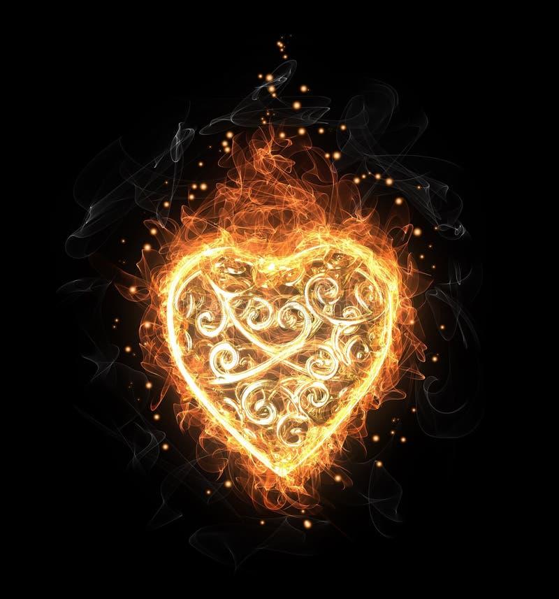 金黄火透雕细工心脏 皇族释放例证