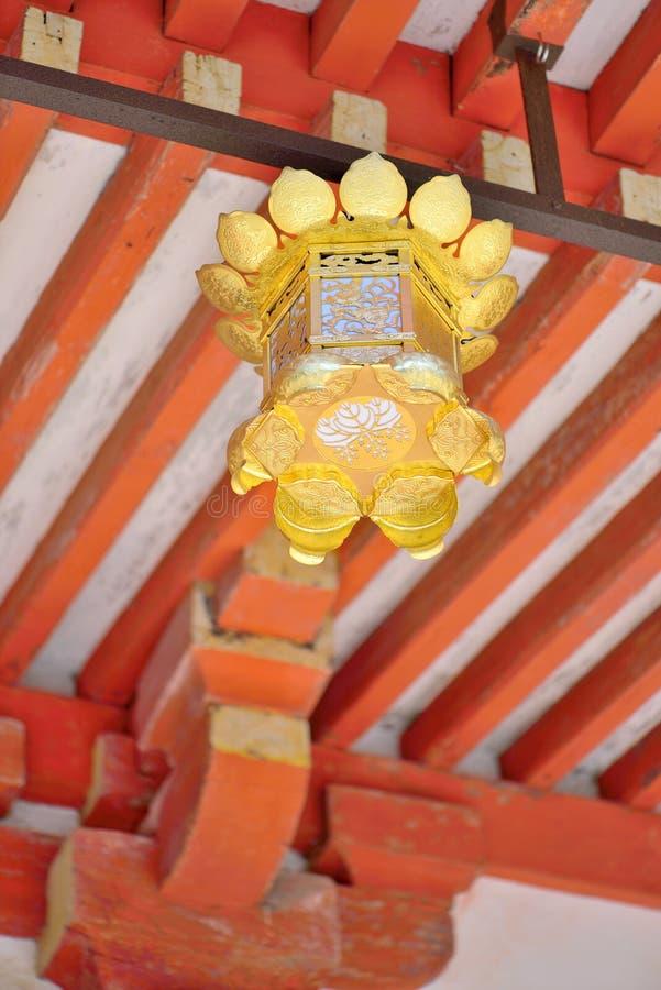 金黄灯笼在Daigo籍寺庙在京都,日本 免版税图库摄影