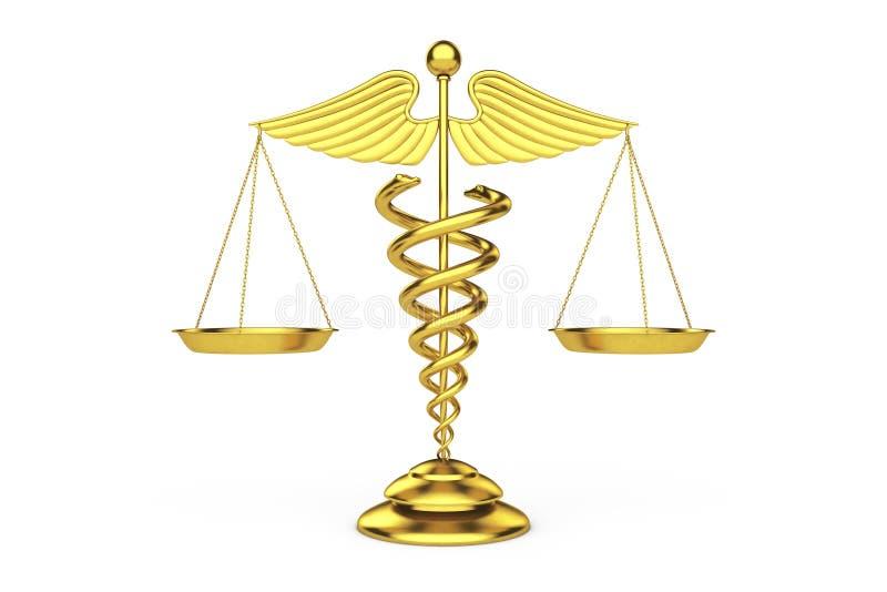金黄医疗众神使者的手杖标志作为标度 3d翻译 皇族释放例证