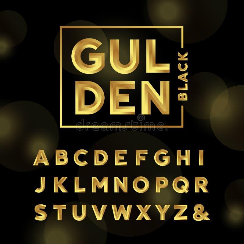 金黄的字体 scrapbooking向量的字母表要素 皇族释放例证