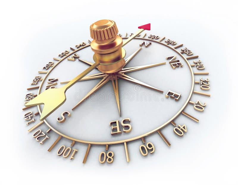 金黄的指南针 库存例证
