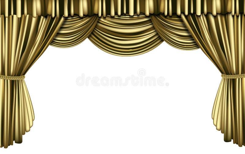 金黄的窗帘 向量例证