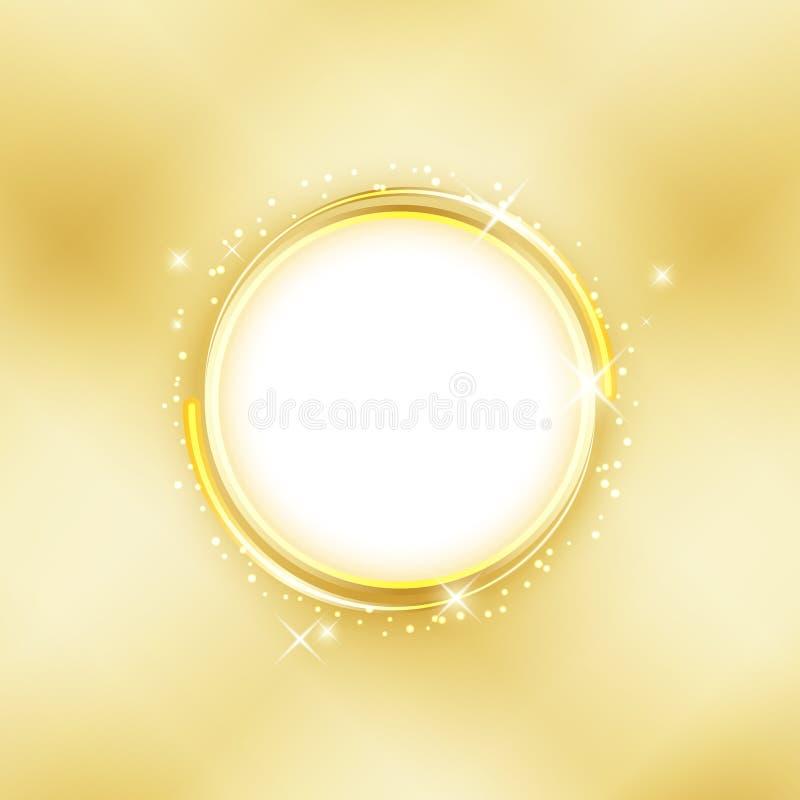 金黄的背景 与星的金戒指闪烁 皇族释放例证