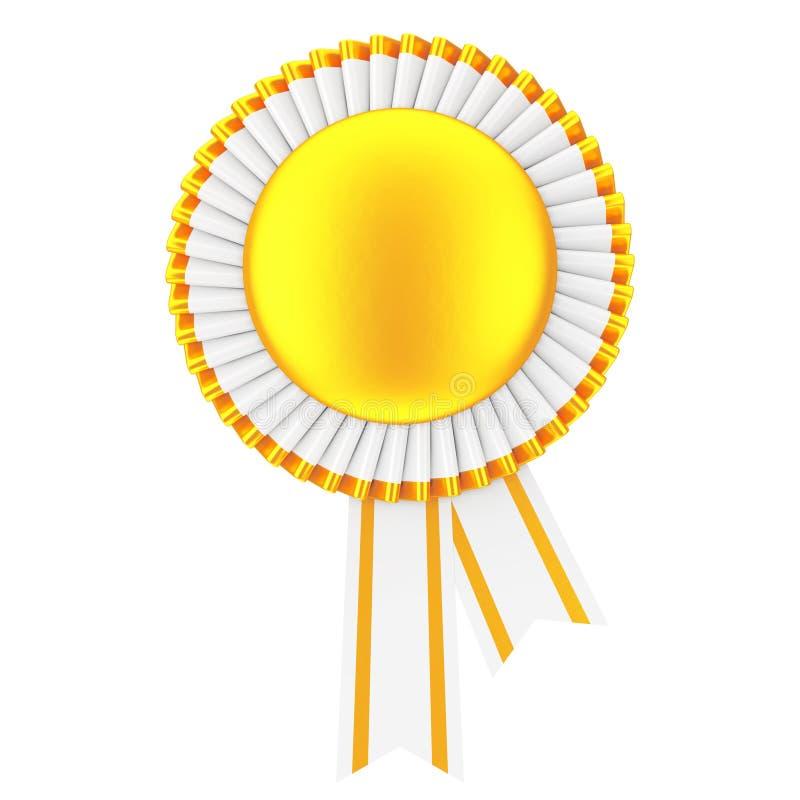 金黄空白的奖丝带玫瑰华饰 3d翻译 向量例证