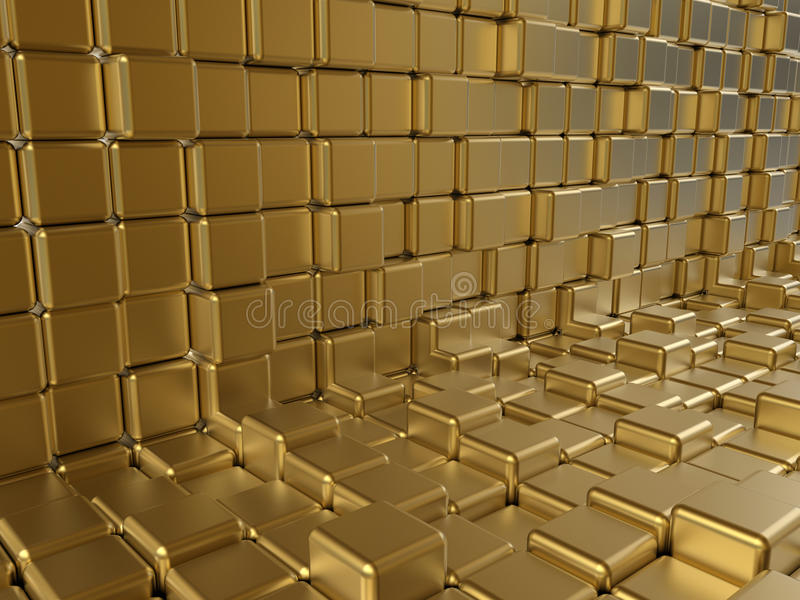 金黄立方体摘要 皇族释放例证