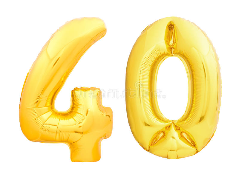 金黄第40四十做了可膨胀的气球 图库摄影