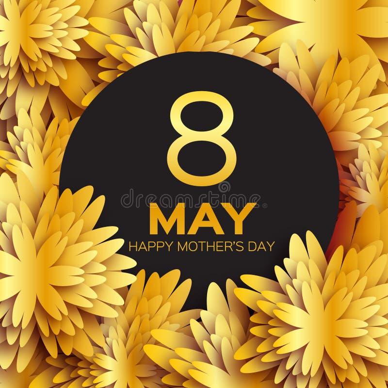 金黄箔花卉贺卡-愉快的母亲节-金闪闪发光与纸的假日背景切开了框架花 皇族释放例证