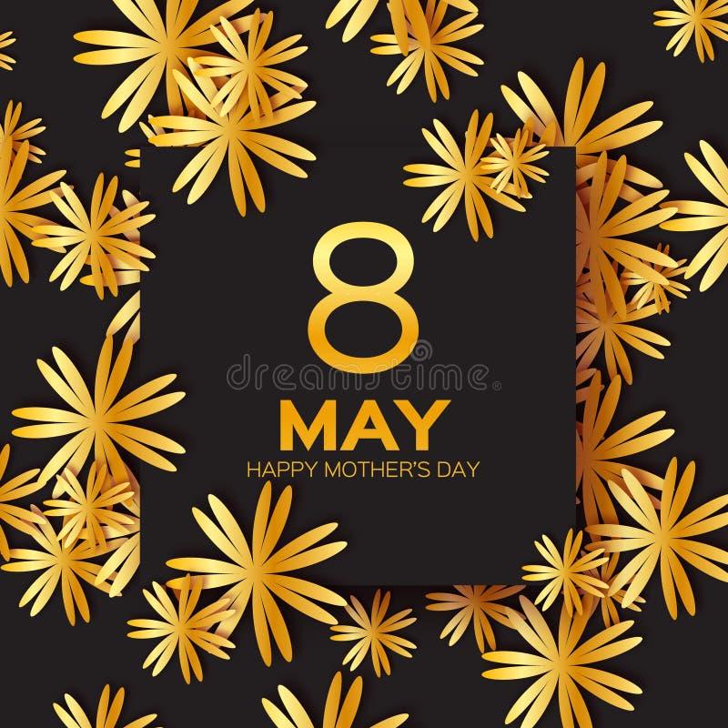 金黄箔花卉贺卡-愉快的母亲节-金闪闪发光与纸的假日背景切开了框架花 库存例证
