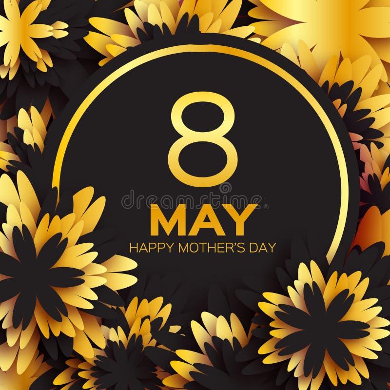 金黄箔花卉贺卡-愉快的母亲节-金闪闪发光假日与纸的黑色背景切开了框架花 皇族释放例证