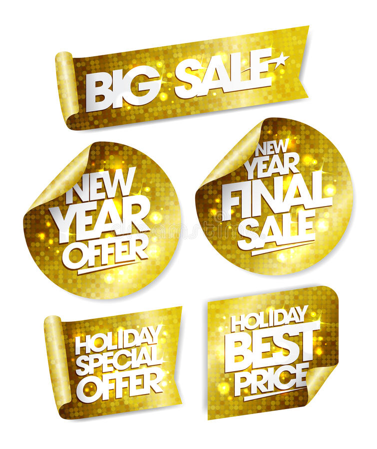 金黄贴纸大销售,新年提议,新年最后的销售,假日特价优待,假日最佳的价格 向量例证