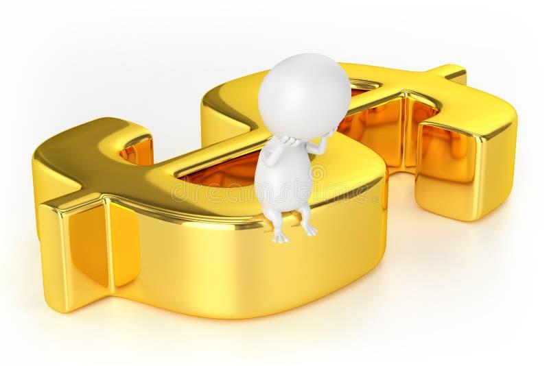 金黄美元的符号和字符 向量例证