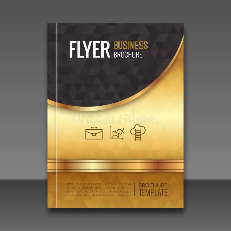 金黄背景飞行物模板 豪华小册子,书套大模型设计 传染媒介元素 向量例证