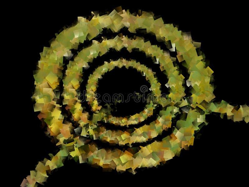 金黄黄色同心圆的抽象例证与一条线的对中心 库存例证