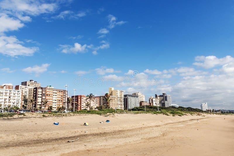 金黄英里海滩前面在德班南非 库存照片
