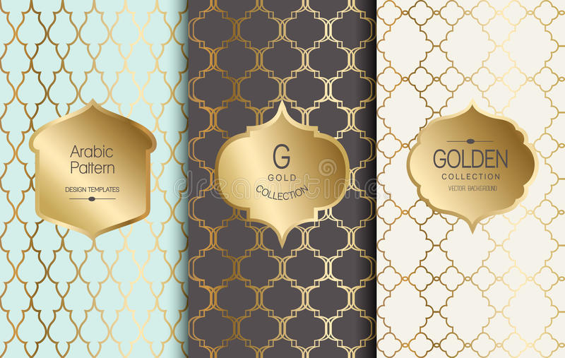 金黄葡萄酒样式 也corel凹道例证向量 金抽象框架 标号组 阿拉伯模式 库存例证