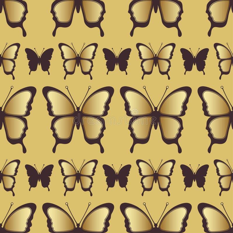 金黄蝴蝶无缝的样式 豪华设计,昂贵的首饰 库存例证