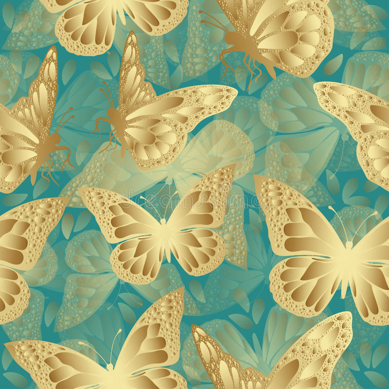金黄蝴蝶无缝的样式 豪华设计,昂贵的首饰 向量例证