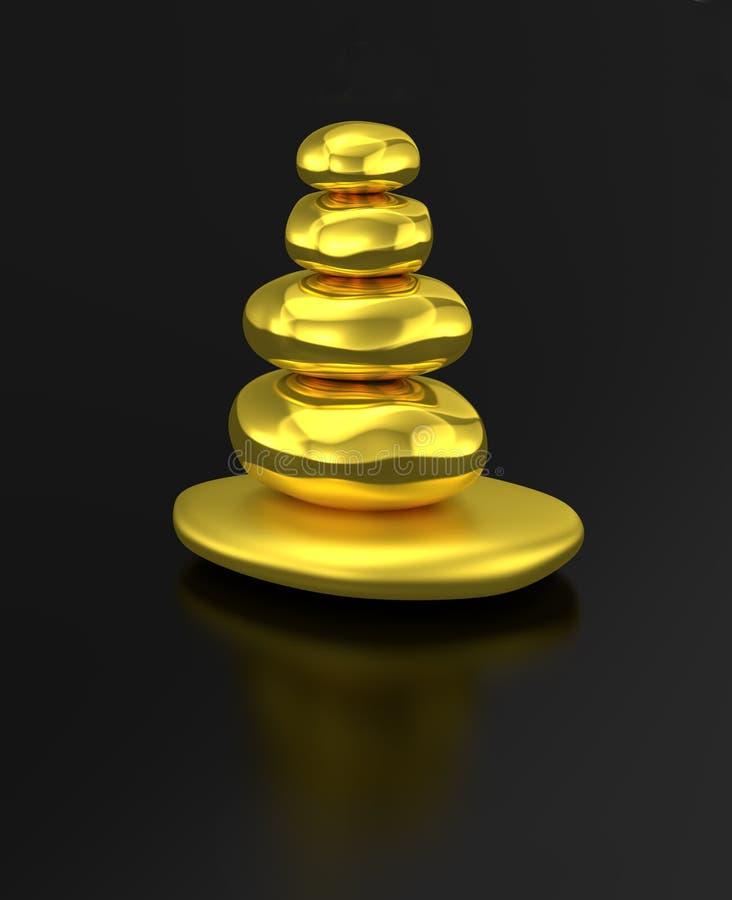 金黄被堆积的石禅宗平衡 皇族释放例证
