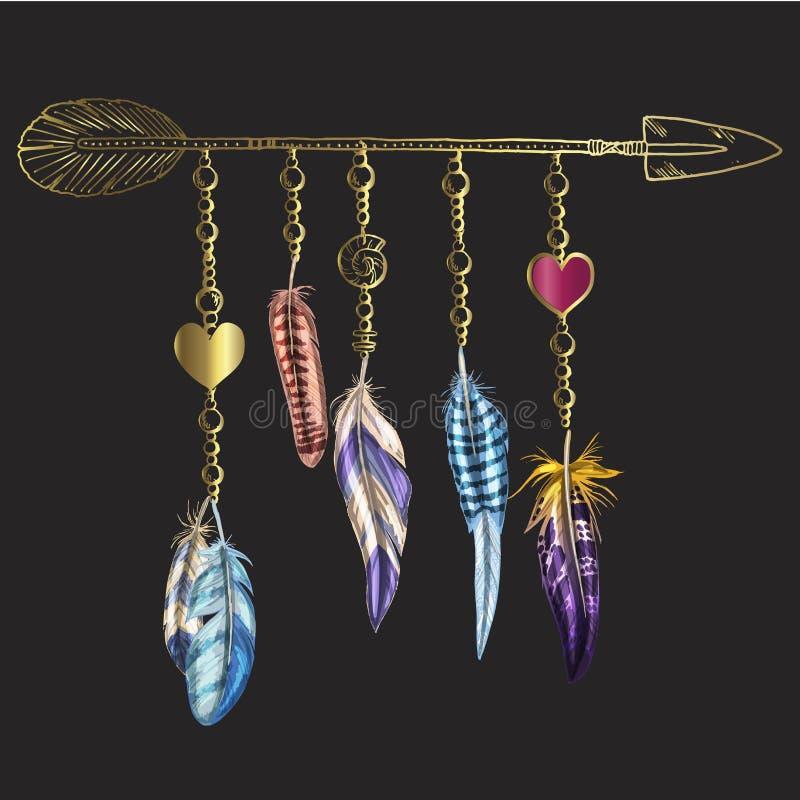 金黄豪华Boho元素 导航与羽毛、箭头和链子的例证 在黑色隔绝的装饰鸟羽毛 Mult 免版税库存图片