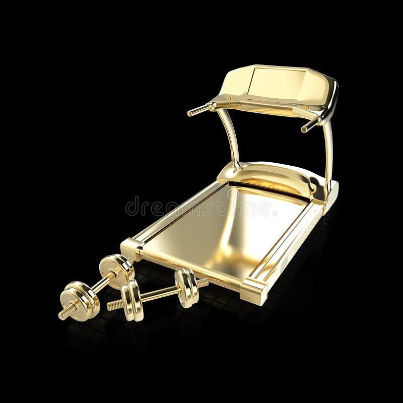 金黄踏车和健身行使设备哑铃重量  回报被隔绝 库存例证