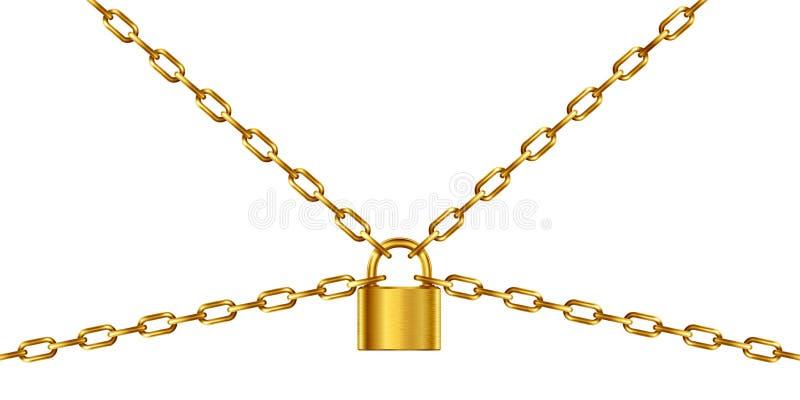 金黄链子和挂锁 向量例证