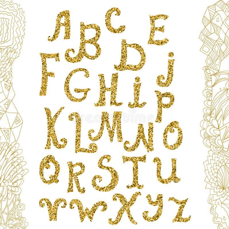 金黄闪烁字母表和乱画背景 scrapbooking向量的字母表要素 手拉的书法信件 字母表写与 库存例证