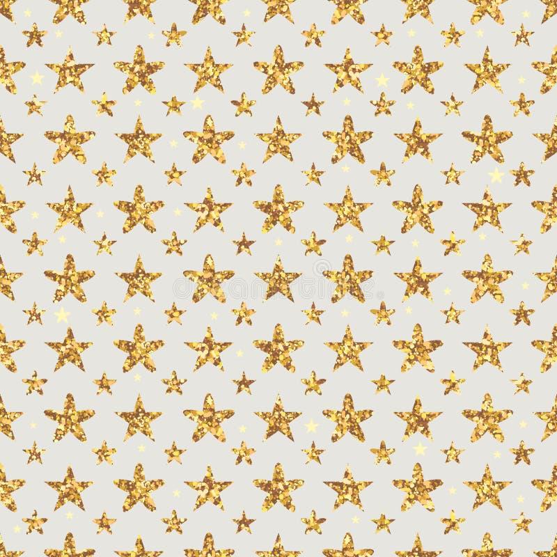 金黄闪烁星花对称无缝的样式 皇族释放例证