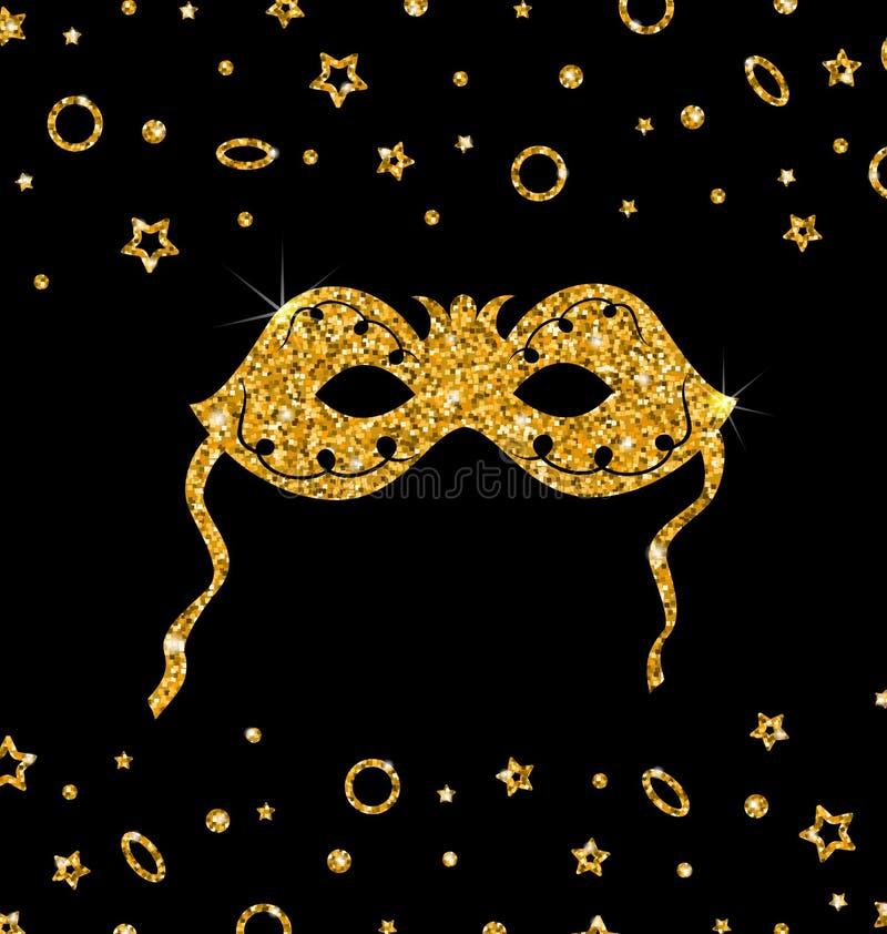 金黄闪烁狂欢节面具 向量例证