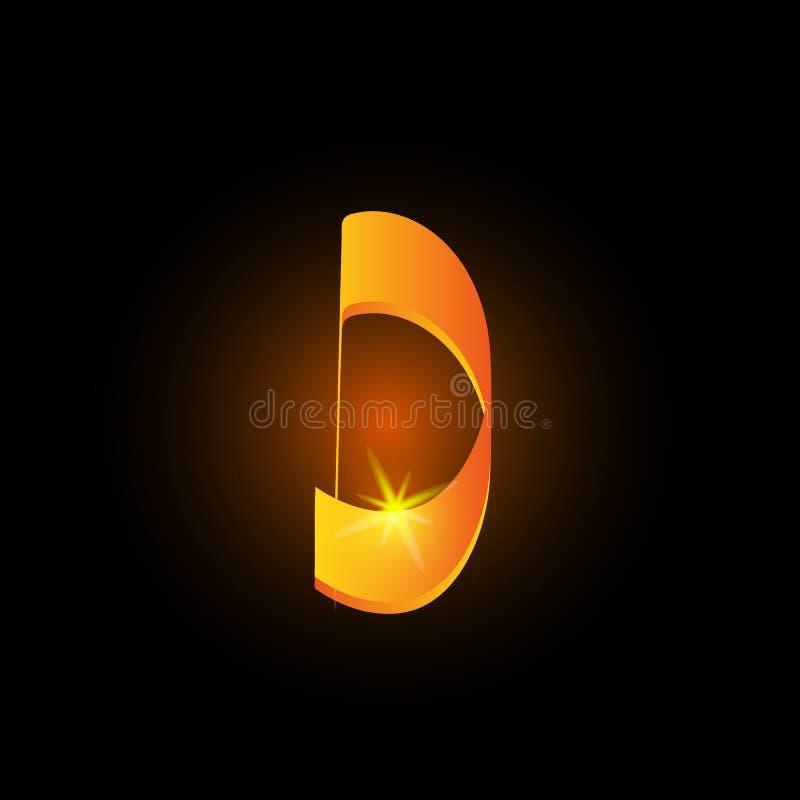 金黄阿拉伯样式信件d 在黑背景的发光的拉丁字母元素象 东方书法设计 火热 皇族释放例证