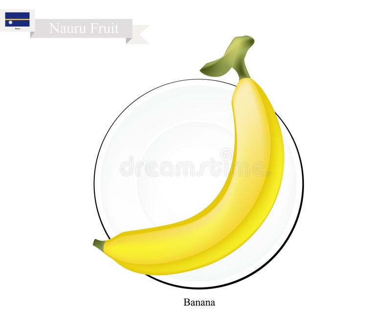 金黄香蕉,普遍的果子在瑙鲁 皇族释放例证