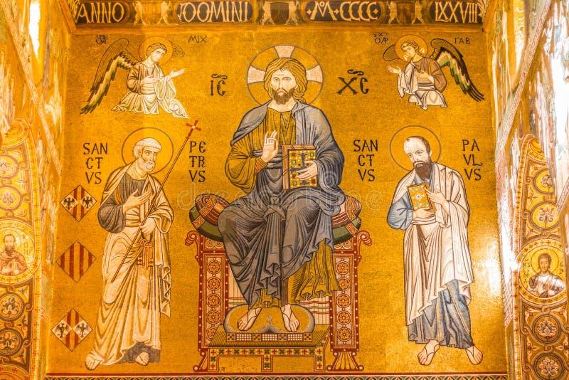 金黄马赛克在La Martorana教会,巴勒莫,意大利里 免版税库存图片