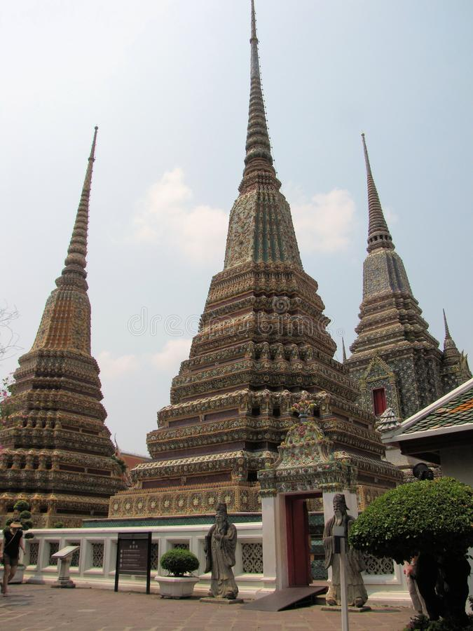 金黄Buddhas, Wat Pho寺庙,曼谷02 库存图片