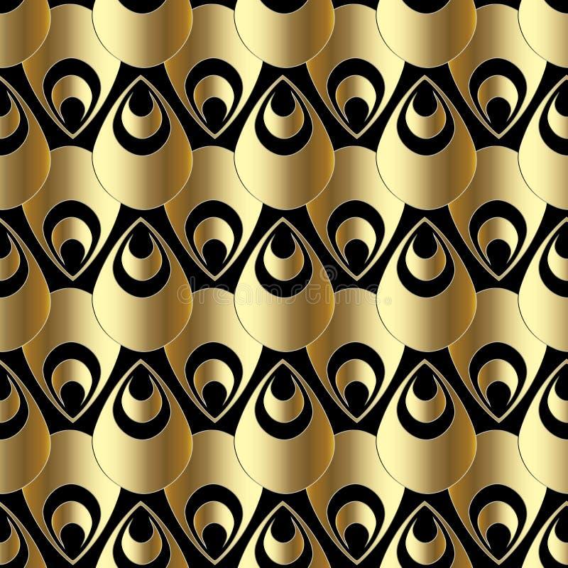 金3d佩兹利无缝的样式 wal抽象传染媒介的背景 库存例证