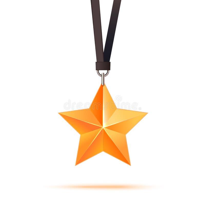 金黄3d星保险费 最佳的奖励 向量例证
