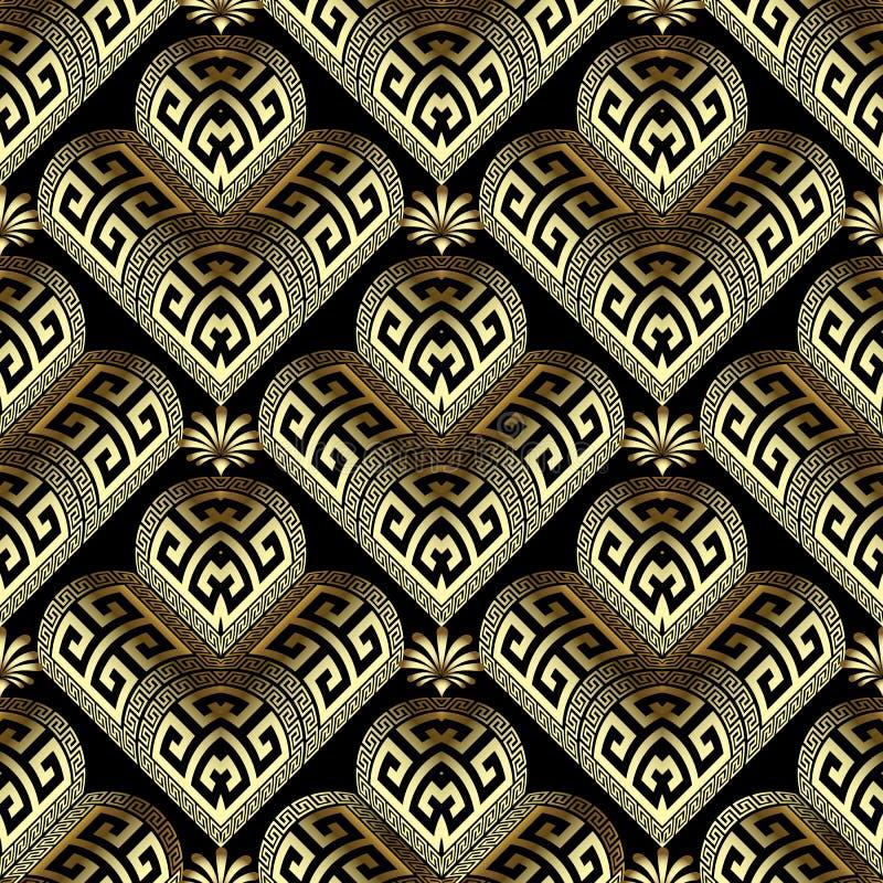 金3d花卉希腊无缝的样式 华丽几何装饰背景 金黄花,几何形状,希腊钥匙 库存例证