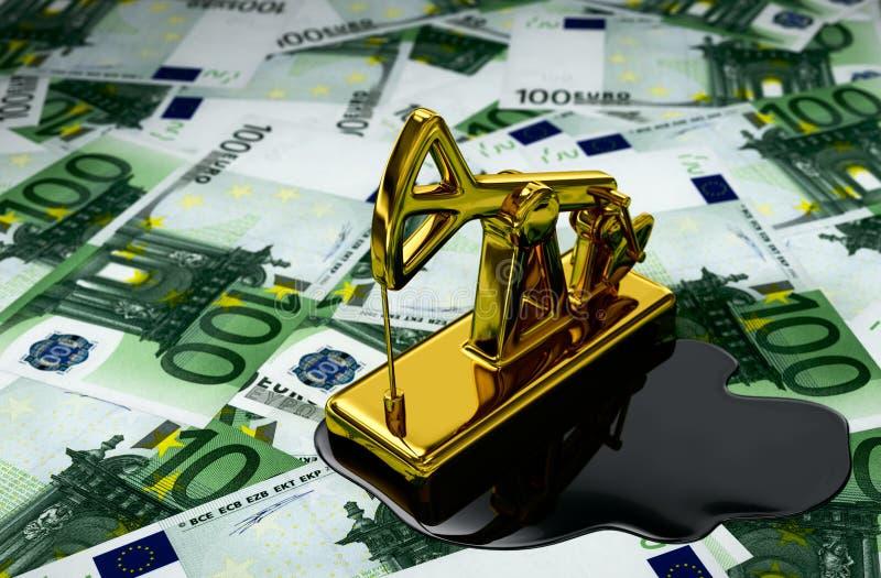 金黄Pumpjack和溢出的油在欧元 库存例证