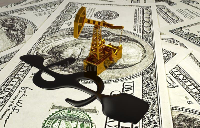金黄Pumpjack和溢出的油在金钱 3d例证 皇族释放例证