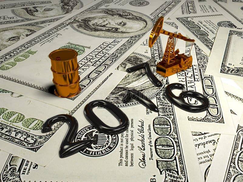 金黄Pumpjack和溢出的油在金钱 3d回报 库存例证