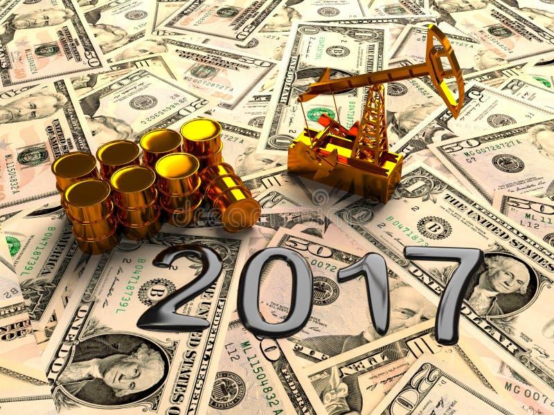 金黄Pumpjack和溢出的油在金钱 3d回报 向量例证