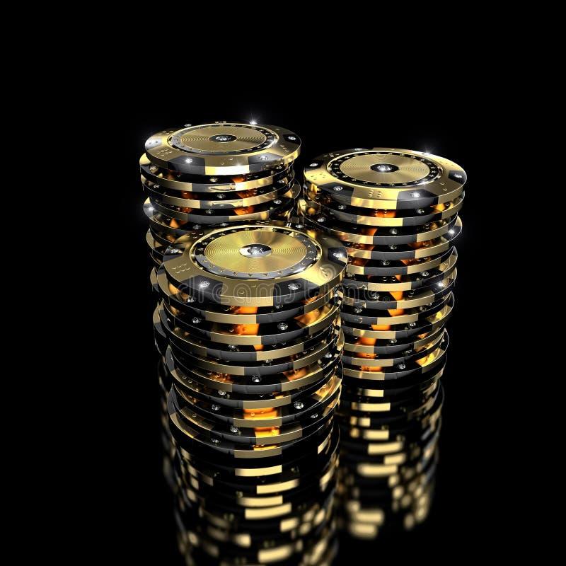 金黄vip赌博娱乐场芯片 向量例证